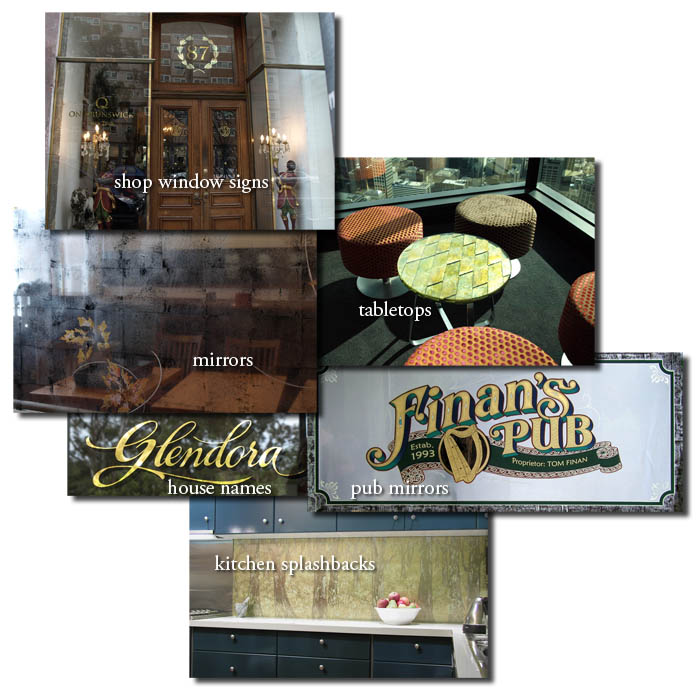 gold leaf signwriting, mirrors, glass panels
